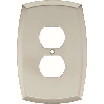 Amherst Decorative Single Duplex Outlet Cover, Satin Nickel