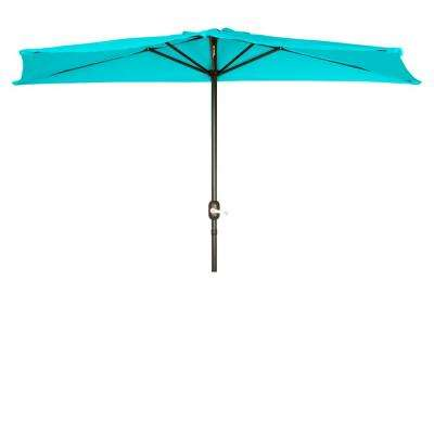 9 ft. Market Half Patio Umbrella in Peacock
