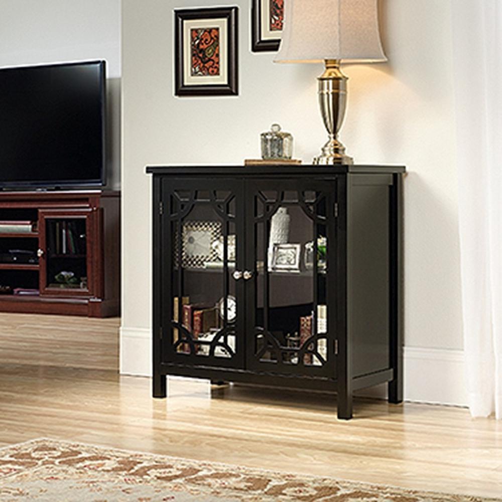 SAUDER Palladia Collection Black Accent Storage Cabinet 420130