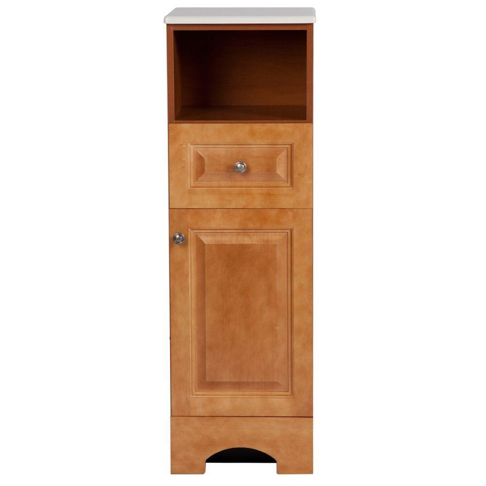 Chelsea 14-1/2 in. W x 45 in. H x 14-3/10 in. D Bathroom Linen Storage Cabinet in Nutmeg