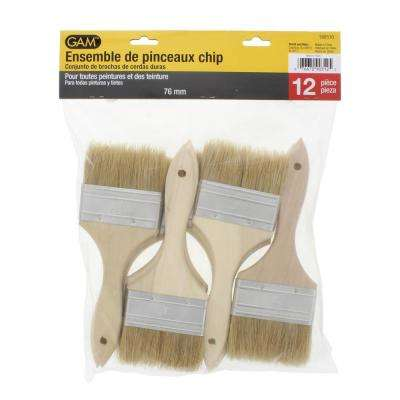 3 in. Chip Brush Set with Natural Wood Handles, Pack of 12