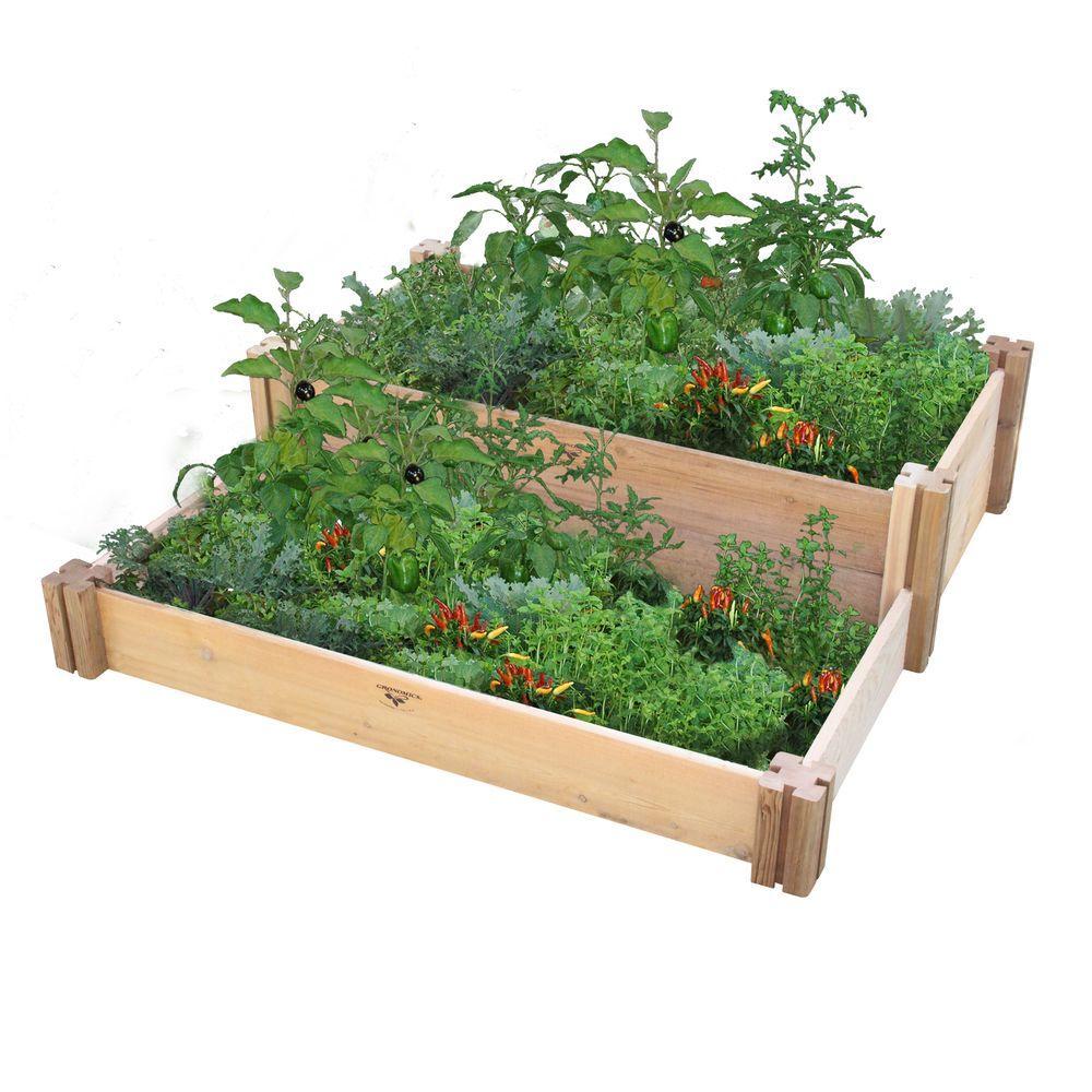 36 in. x 36 in. x 13 in. Multi-Level Rustic Raised Garden Bed