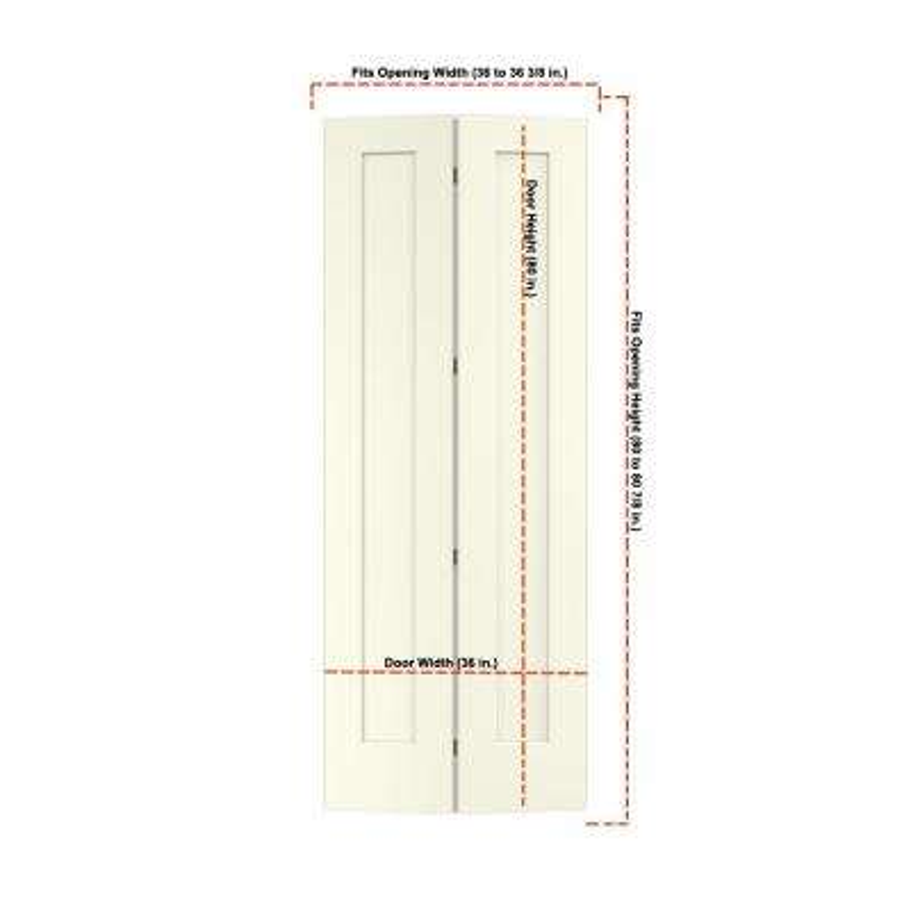 36 in. x 96 in. Madison Vanilla Painted Smooth Molded Composite MDF Closet Bi-fold Door