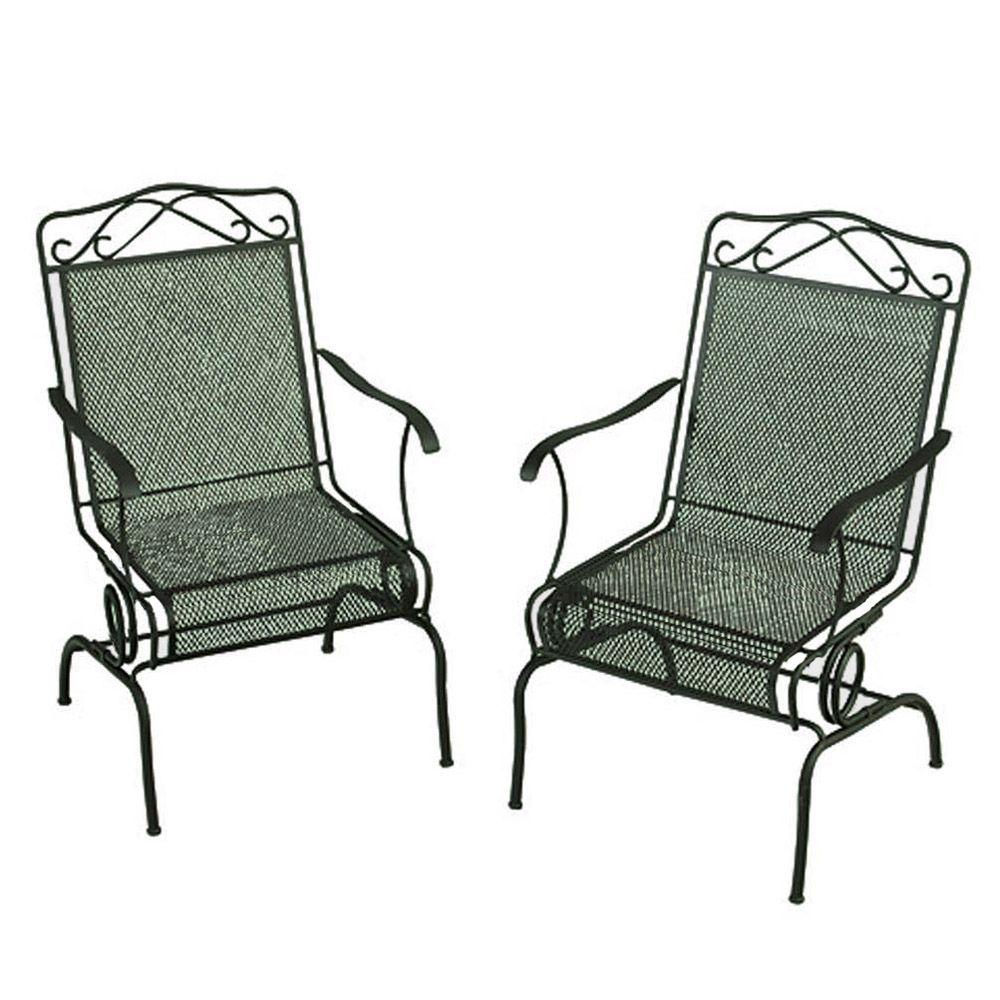 null Wrought Iron Green Patio Motion Dining Chairs (2-Pack)-DISCONTINUED