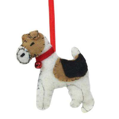 5 in. Cream Black and Brown Dog Plush Christmas Ornament