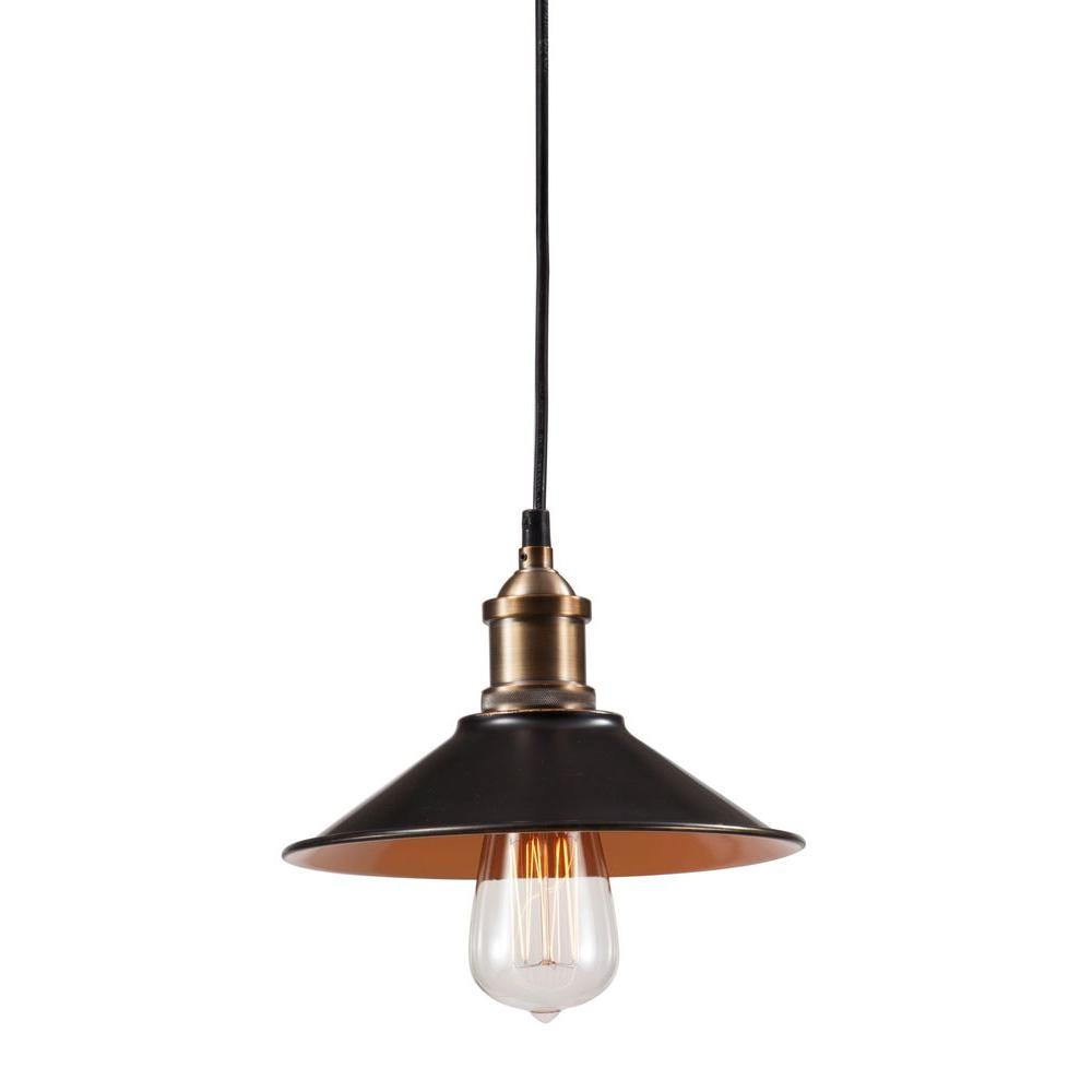 ZUO Metaborite Ceiling Antique Black Gold and Copper Lamp