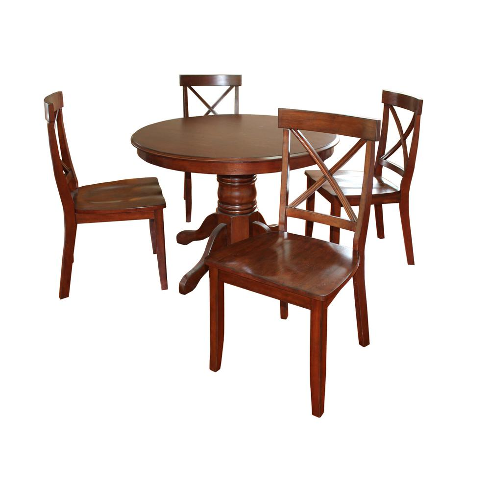 home styles classic 5 piece cherry dining set 5171 308 the home depot. Black Bedroom Furniture Sets. Home Design Ideas