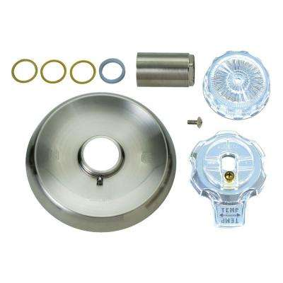 1-Handle Tub and Shower Faucet Trim Kit for Mixet Non-Pressure Balanced Valve in Satin Nickel/Clear (Valve Not Included)