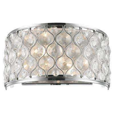 Paris 2 Light Polished Chrome With Clear Crystal Wall Sconce Worldwide