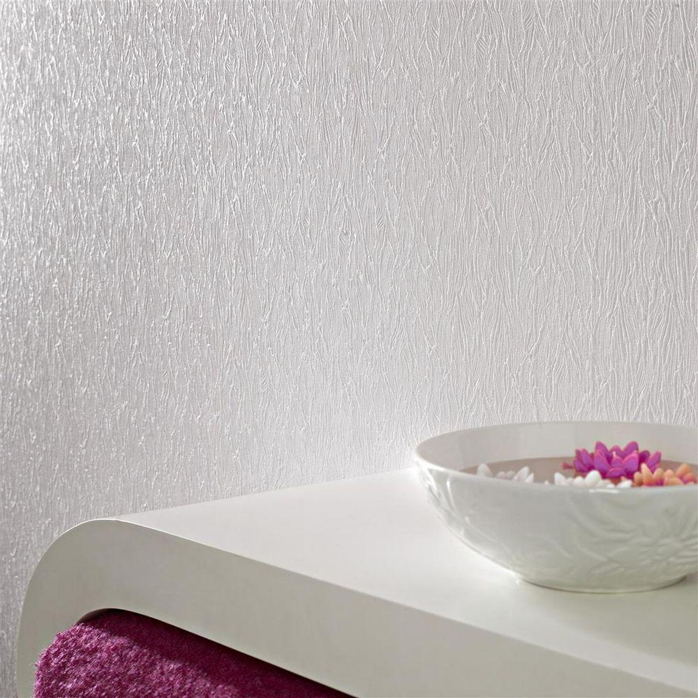 56 sq. ft. Forest Bark Paintable White Wallpaper