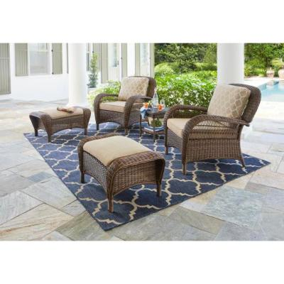 Beacon Park Brown Wicker Outdoor Patio Ottoman with Standard Toffee Trellis Tan Cushions