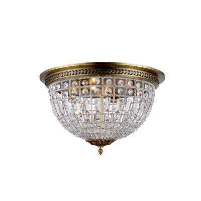 Olivia 4 Light French Gold Royal Cut Crystal Flushmount
