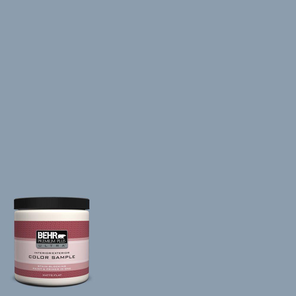 BEHR Premium Plus Ultra 8 oz. #ICC-65 Relaxing Blue Interior/Exterior Paint Sample