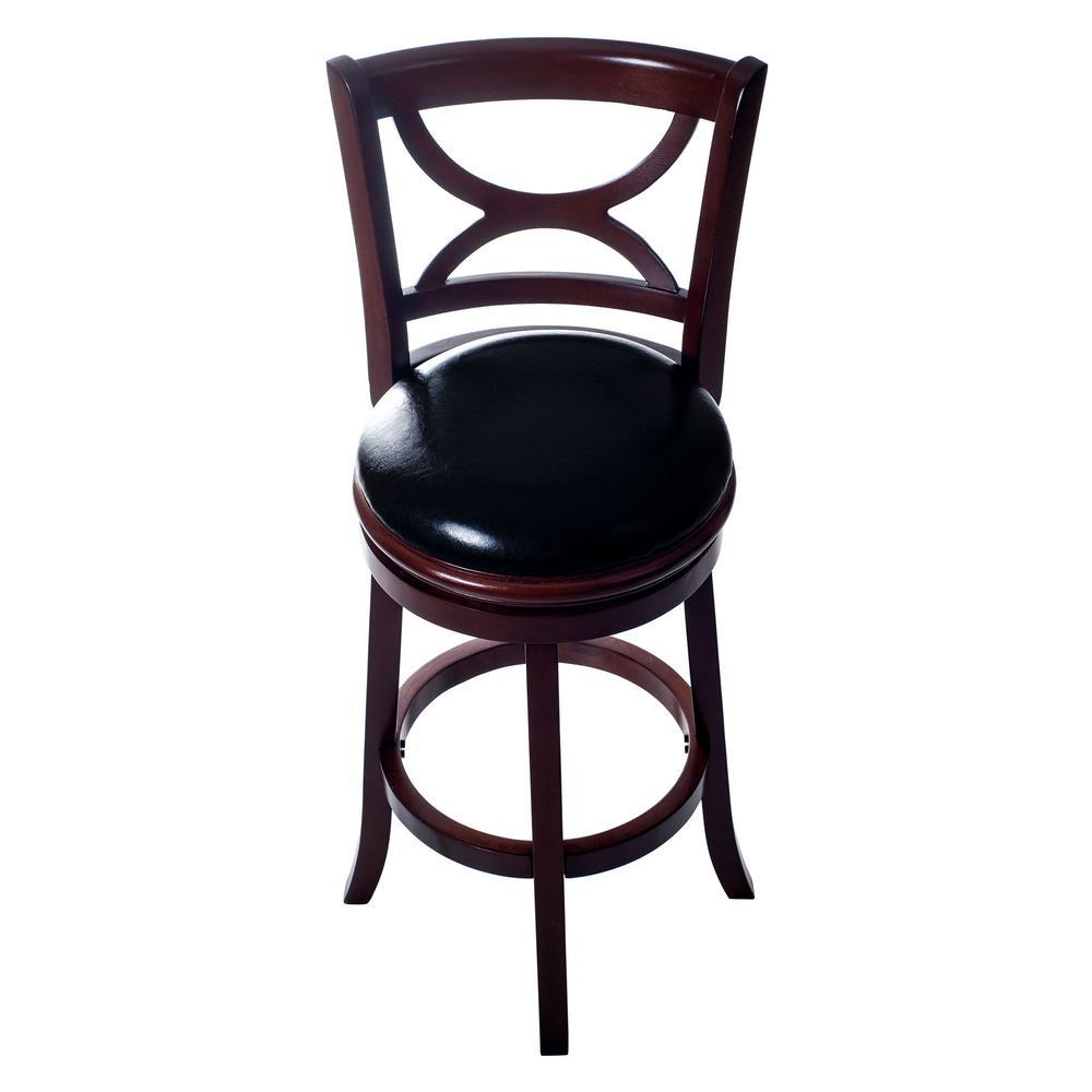 29 in. Dark Brown Swivel Cushioned Bar Stool