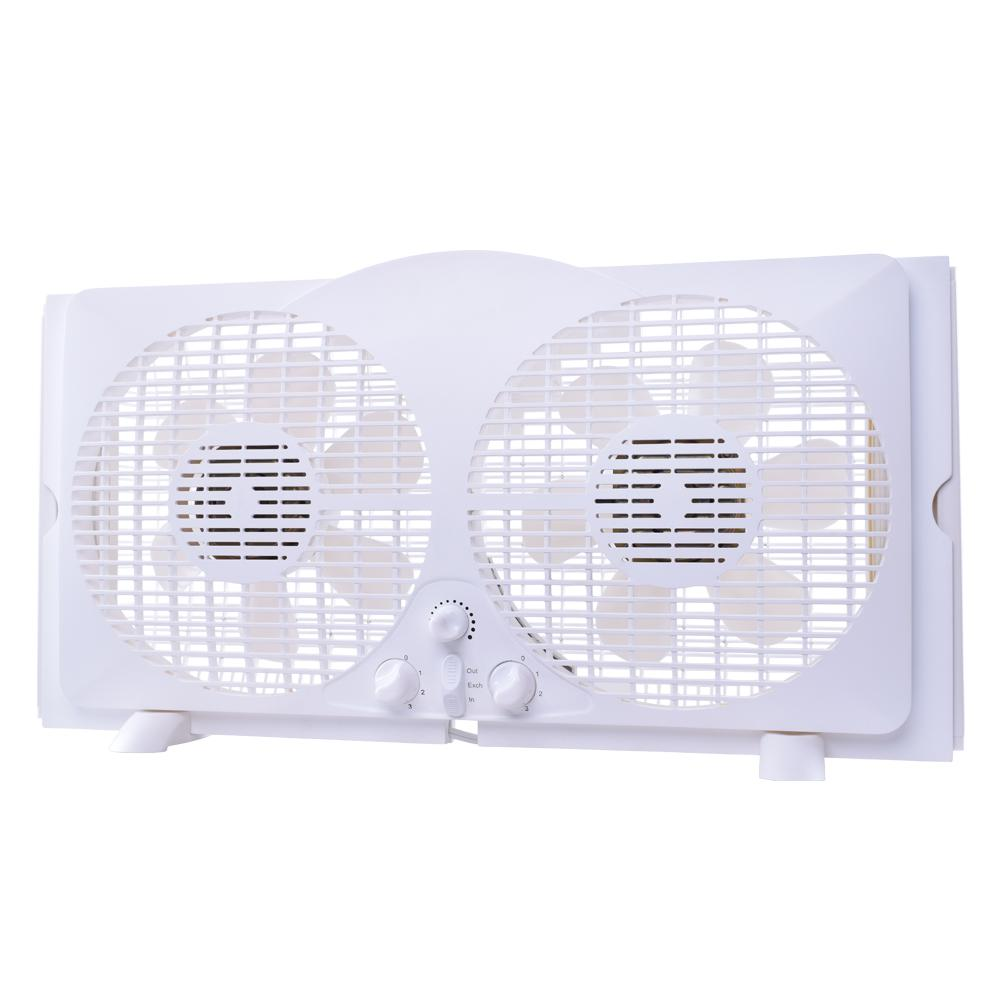 65-Watt 9 in. White Reversible Twin Window Fan