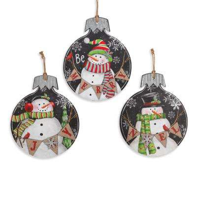 Assorted Wood and Metal Wall Hangings Ornament with Snowmen (Set of 3)