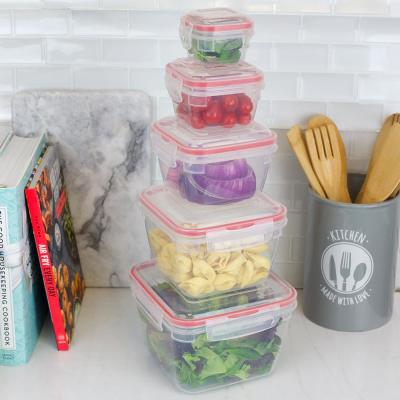 10-Piece Locking Square Plastic Food Storage Containers with Ventilated Snap-on Lids