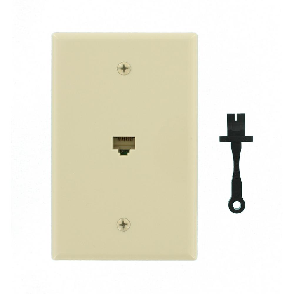 Cat5e Data Mid-Sized Wall Plate, Ivory