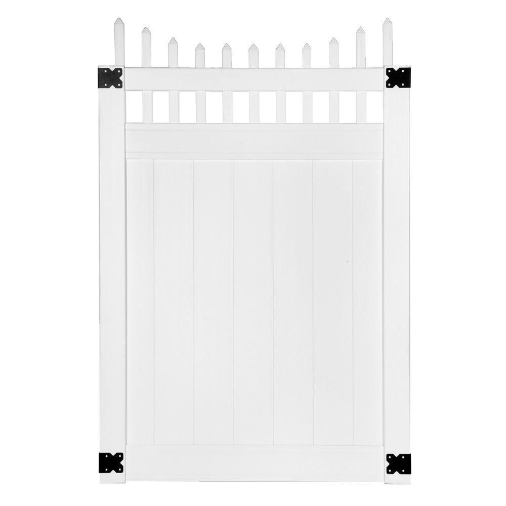Pro Series 4 ft. W x 6 ft. H White Vinyl Woodbridge Privacy Fence Gate