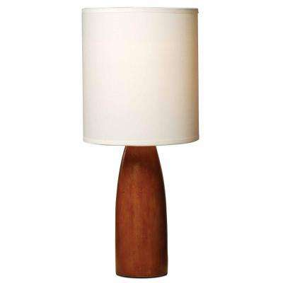 16.5 in. Brown Base Table Lamp with and White Fabric Shade