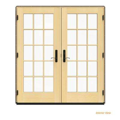 72 in. x 80 in. W-4500 Brown Clad Wood Left-Hand 15 Lite French Patio Door w/Lacquered Interior