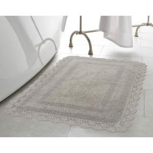 Laura Ashley Crochet 100% Cotton 24 inch x 40 inch Bath Rug in Light Grey by Laura Ashley