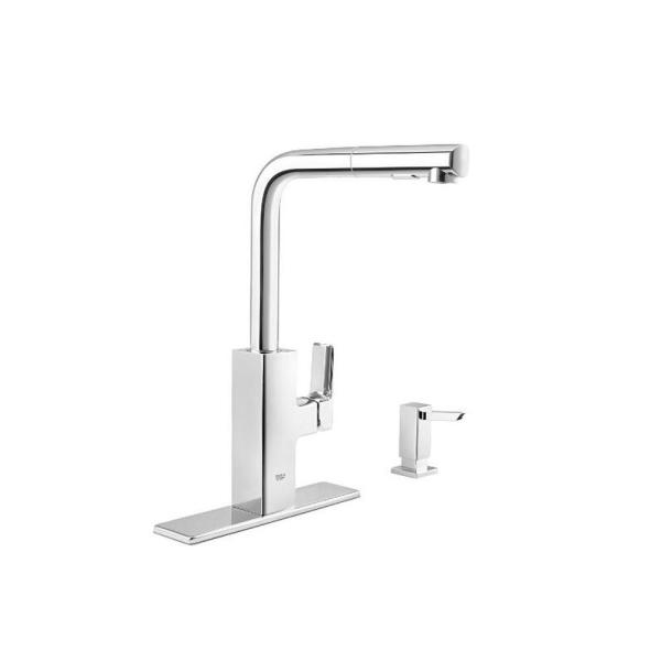 Tallinn Single-Handle Pull-Out Sprayer Kitchen Faucet with Soap Dispenser in StarLight Chrome