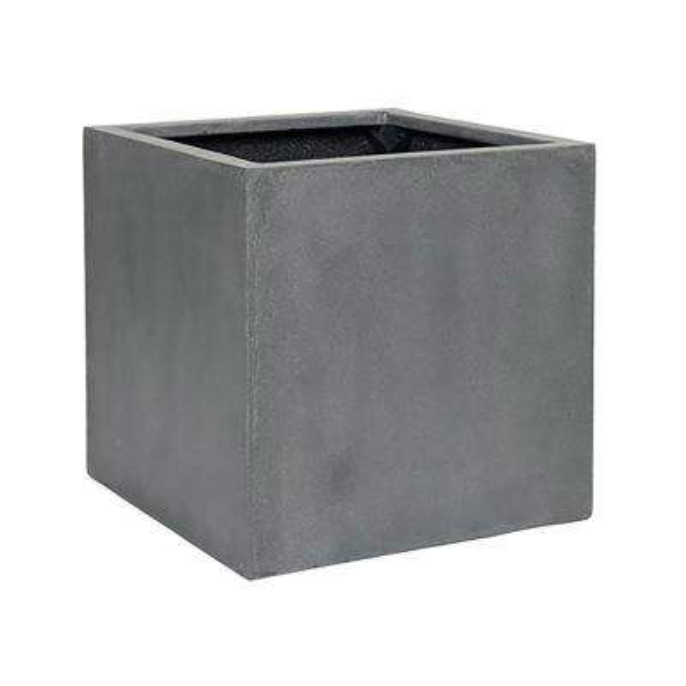 16 in. x 16 in. Matte Grey Fiberstone Square Cube Planter