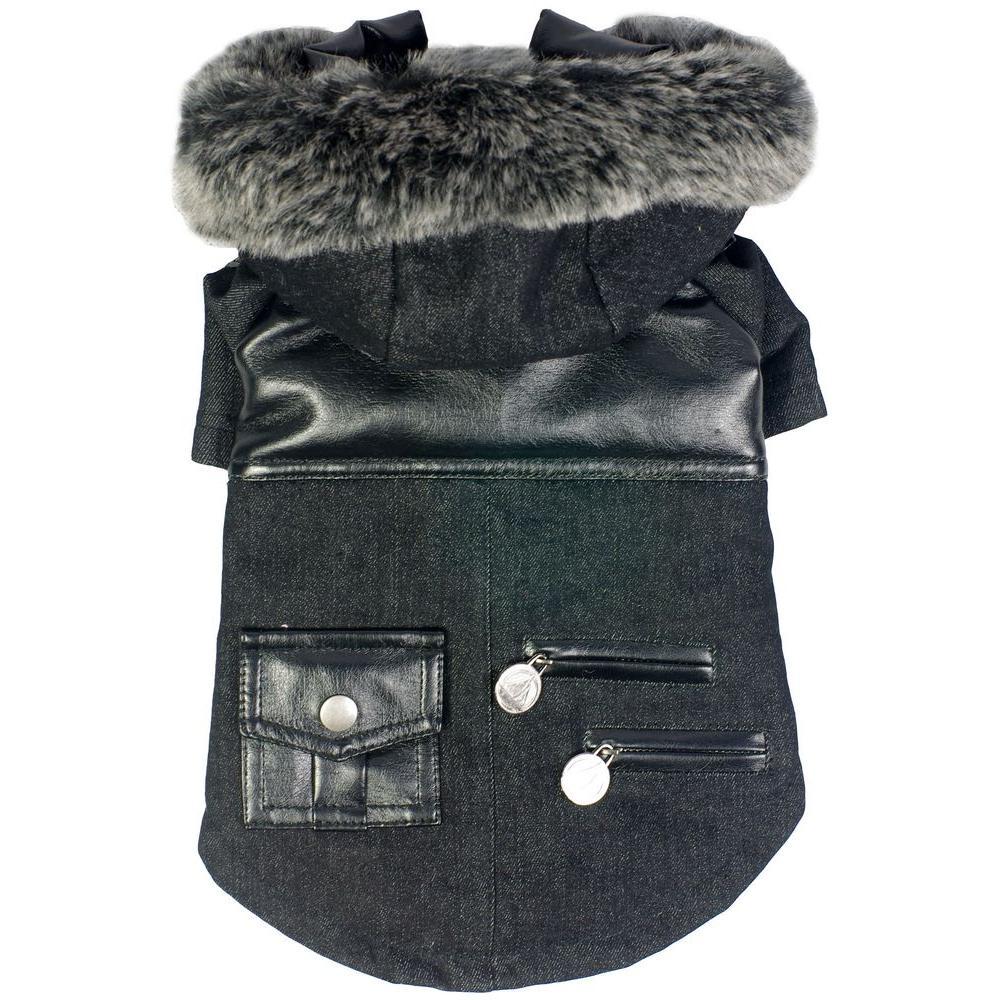 Small Black Ruff-Choppered Denim Fashioned Wool Dog Coat