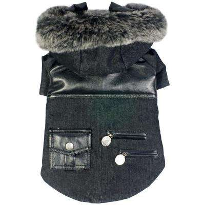 X-Small Black Ruff-Choppered Denim Fashioned Wool Dog Coat