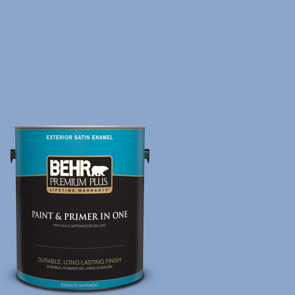 BEHR Premium Plus 1-gal. #590D-4 Romantic Isle Satin Enamel Exterior Paint