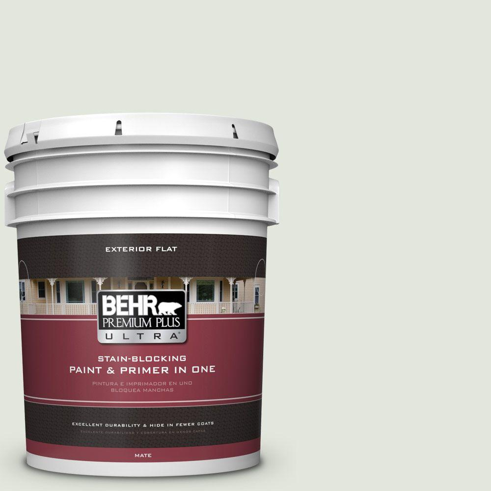 BEHR Premium Plus Ultra 5-gal. #BL-W6 Whispering Waterfall Flat Exterior Paint