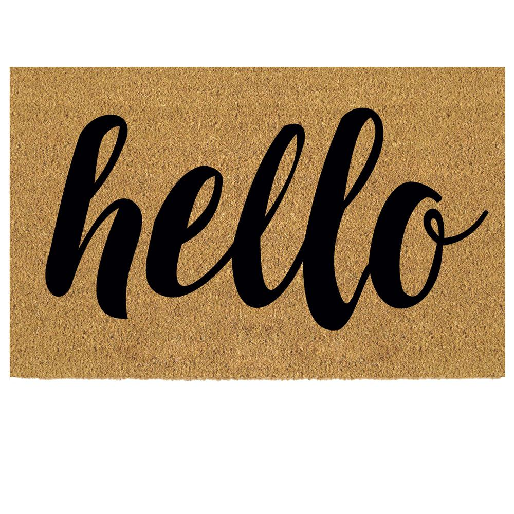 Gentil Hello 18 In. X 30 In. Coir Custom Door Mat