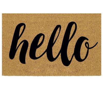 Hello 18 in. x 30 in. Coir Custom Door Mat