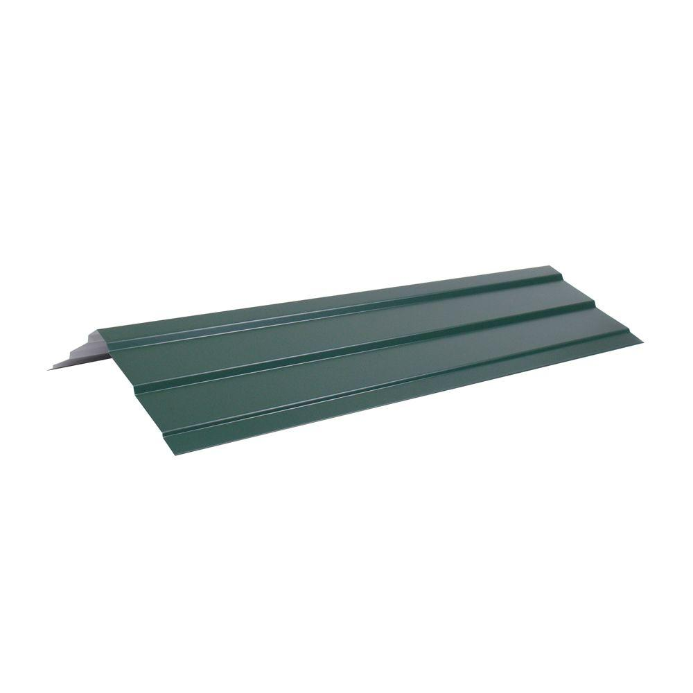 Fabral Shelterguard Ar3 14 In X 10 1 2 Ft Steel Ridge Cap Flashing In Evergreen 4849612875 The Home Depot