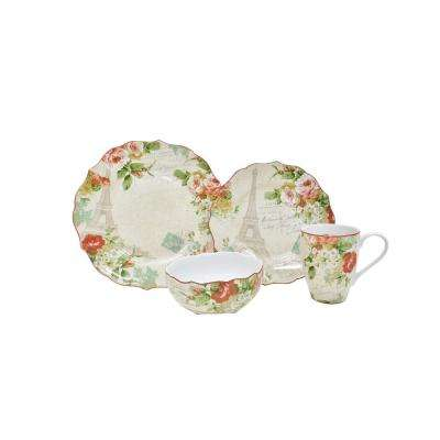 Paris Holiday 16-Piece Cream Dinnerware Set