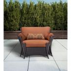 Strathmere Allure 2-Piece Patio Set with Oversized Armchair and Ottoman with Woodland Rust Cushions