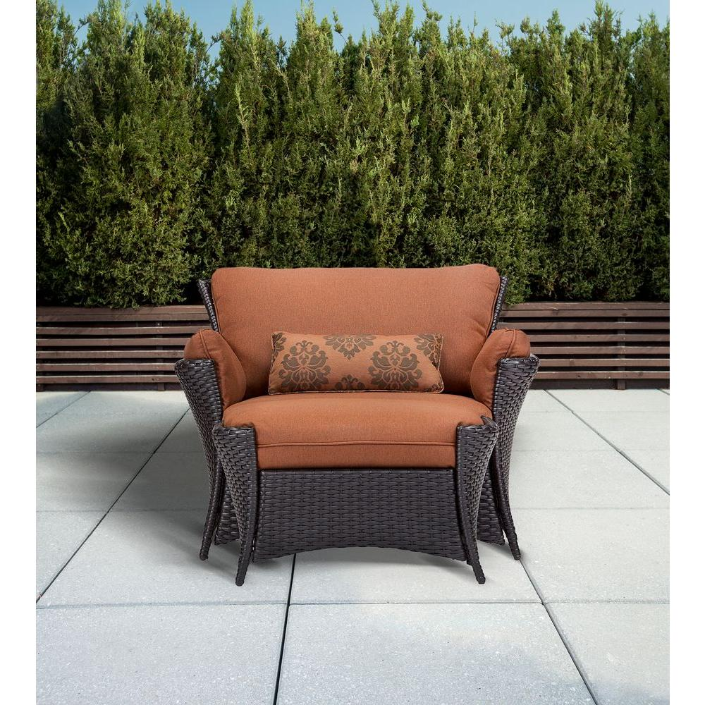Hanover Strathmere Allure 2 Piece Patio Set With Oversized Armchair And  Ottoman With Woodland Rust
