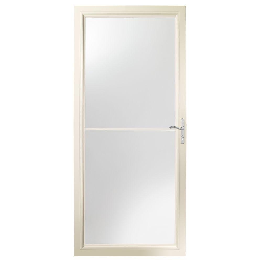 Emco 36 in x 80 in 75 series white self storing storm for Wood storm doors home depot