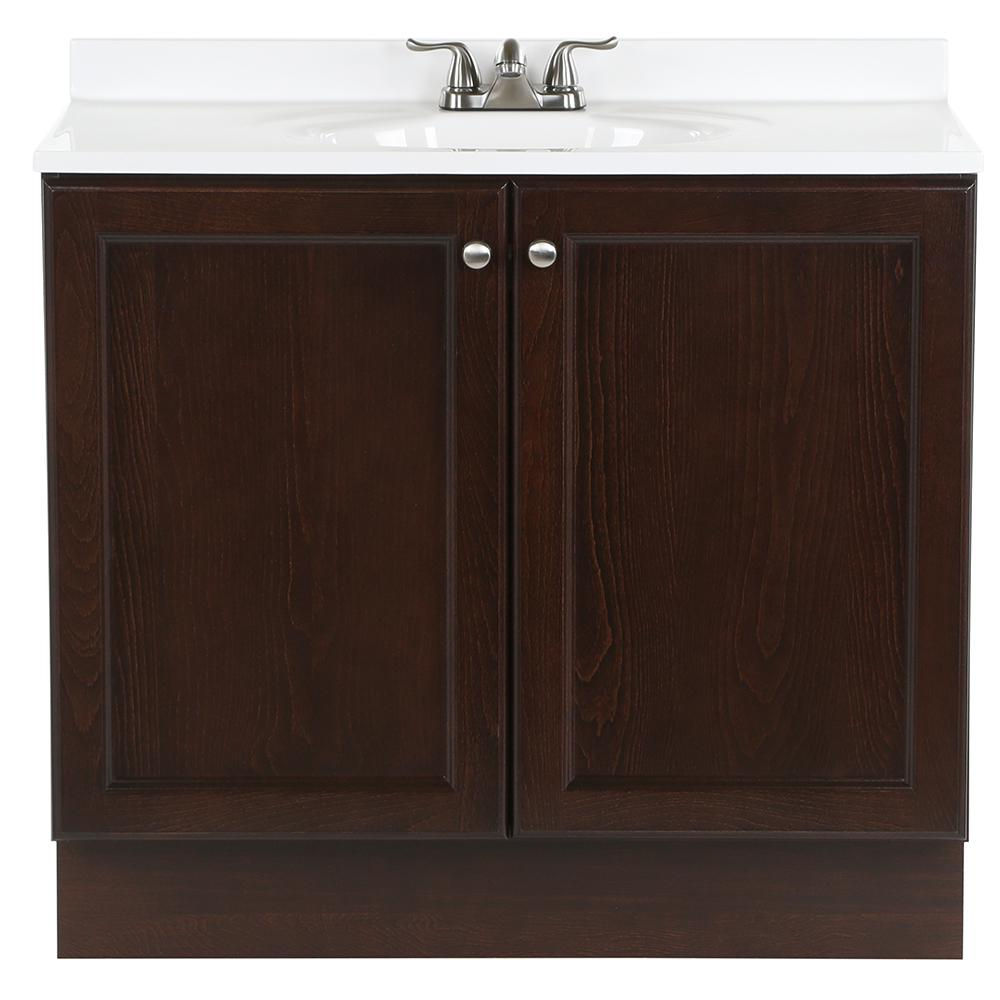 Glacier Bay Vanity Pro All-In-One 36.5 in. W Vanity in Chestnut with Cultured Marble Vanity Top in White with White Basin