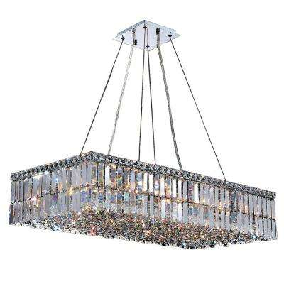Cascade Collection 16-Light Polished Chrome Crystal Rectangle Chandelier