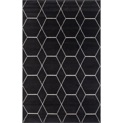 Trellis Frieze Black/Ivory 5 ft. x 8 ft. Geometric Area Rug