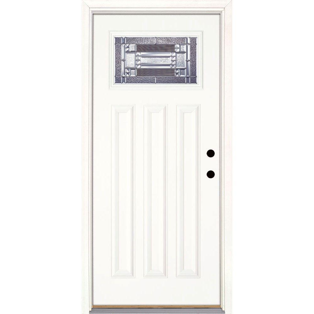 Feather River Doors 37.5 in. x 81.625 in. Preston Zinc Craftsman Unfinished Smooth Left  sc 1 st  The Home Depot & Feather River Doors 37.5 in. x 81.625 in. Preston Zinc Craftsman ...