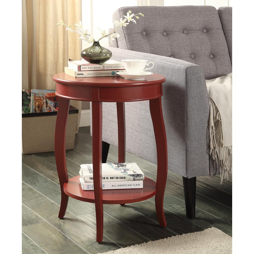 Red Storage Side Table End Nightstand Furniture Living