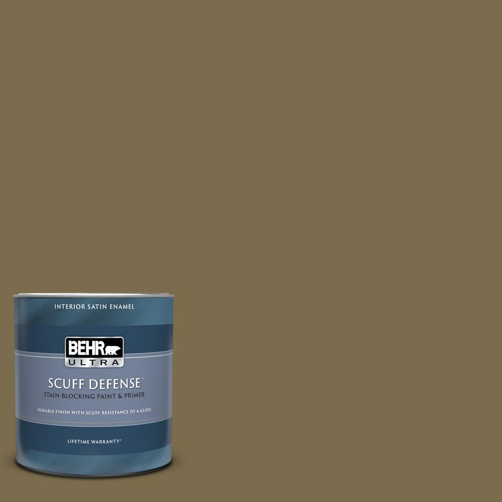 Behr Ultra 1 Qt Ppu8 01 Olive Extra Durable Satin Enamel Interior Paint Primer 775304 The Home Depot