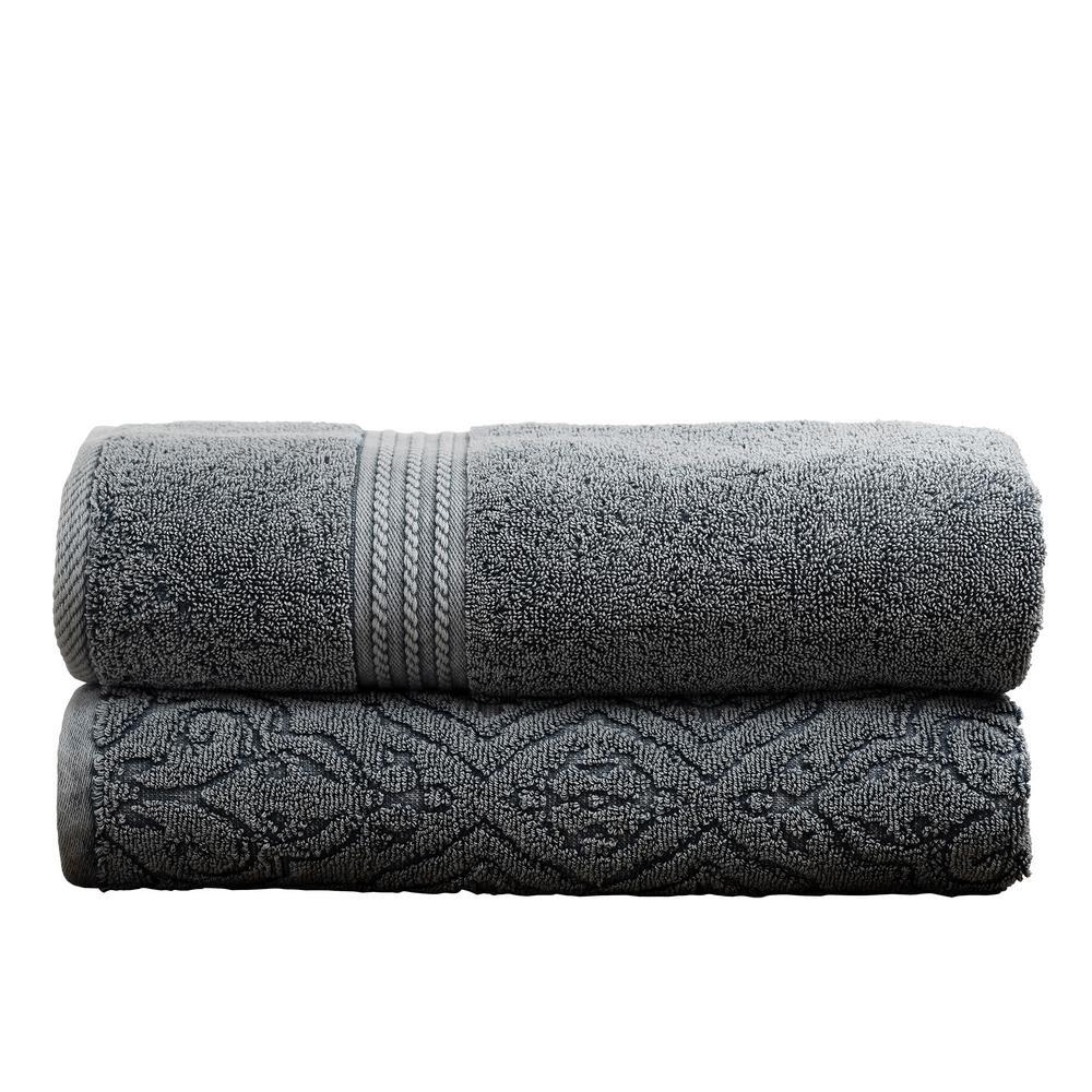 2-Pack Denim Washed Fleur Lattice Bath Towel Set in Charcoal