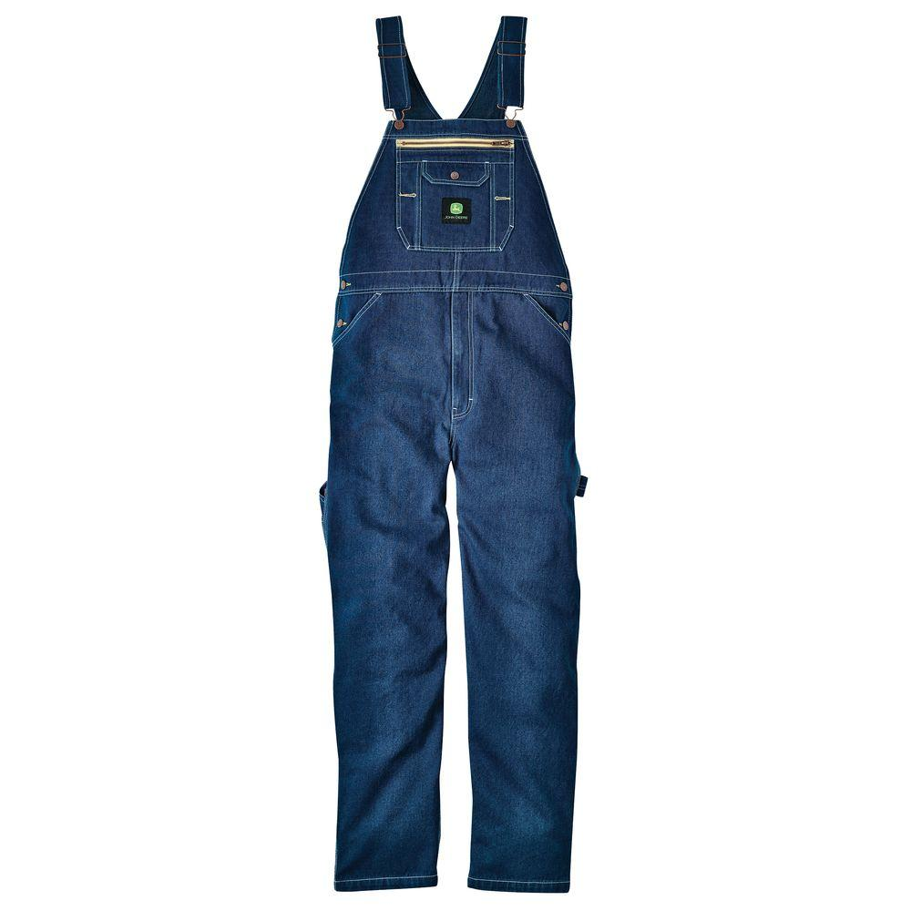 John Deere 36 in. x 32 in. Rinsed Denim Bib Overall in Blue