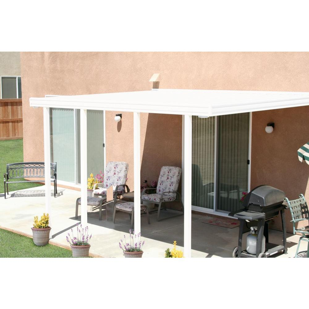 White Aluminum Attached Solid Patio Cover with 4 Posts (20 lbs. Live Load)  sc 1 st  The Home Depot & Integra 14 ft. x 12 ft. White Aluminum Attached Solid Patio Cover ...