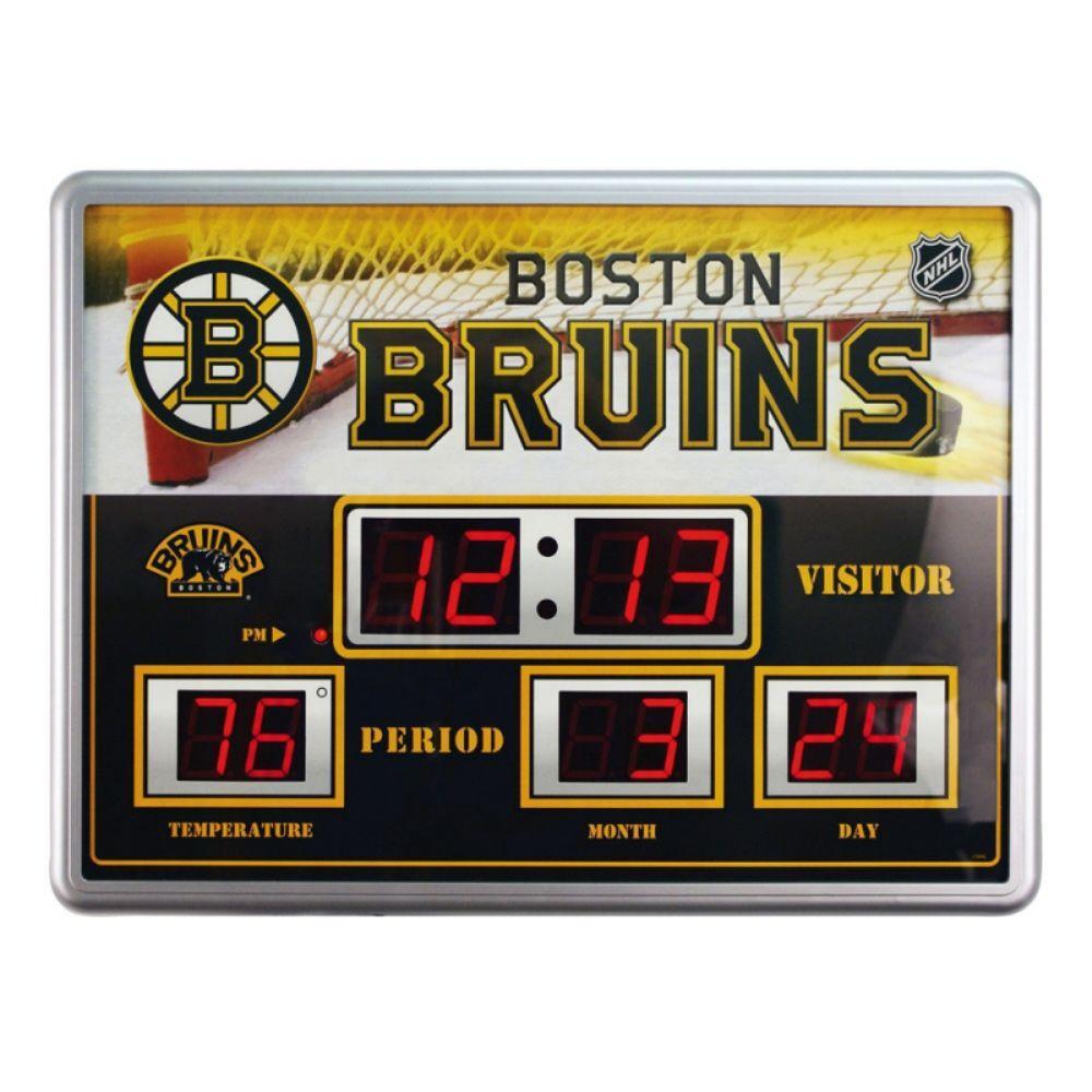 null Boston Bruins 14 in. x 19 in. Scoreboard Clock with Temperature