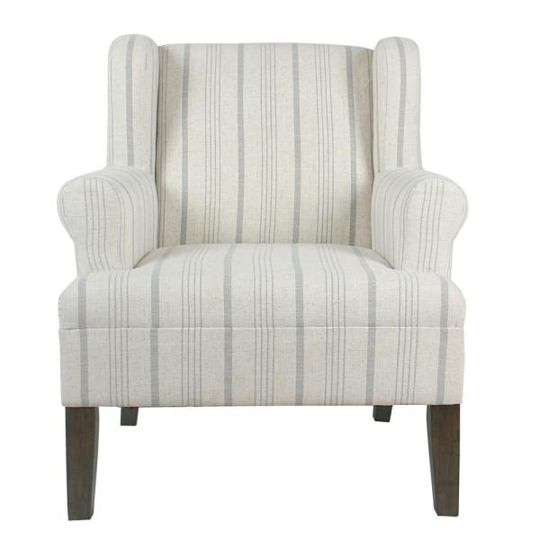 Homepop Striped Dove Grey Poly-Linen Emerson Rolled Arm Accent Chair K6699-F2231